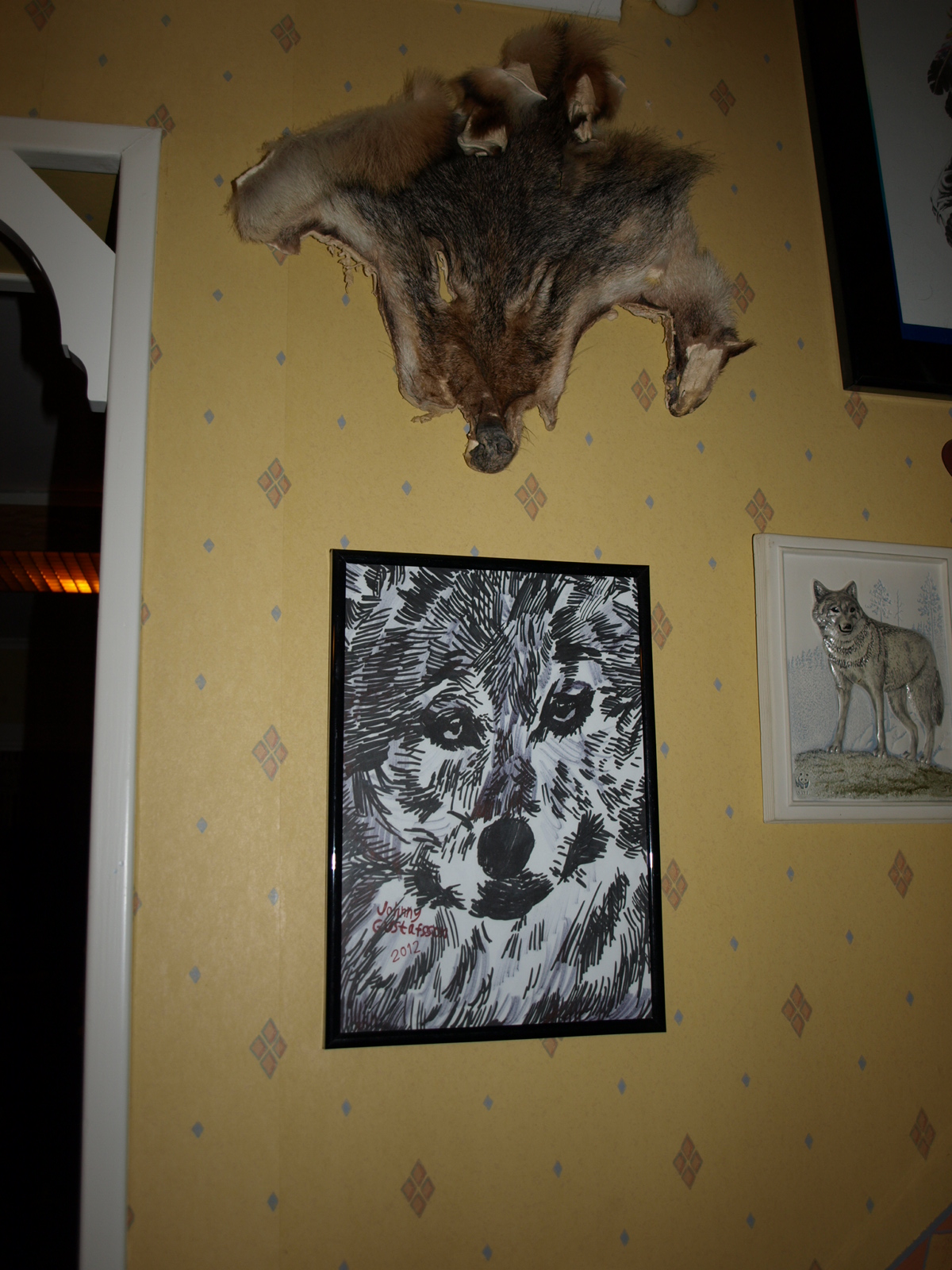 My Wolf drawing at my realtives wall by Skenberg