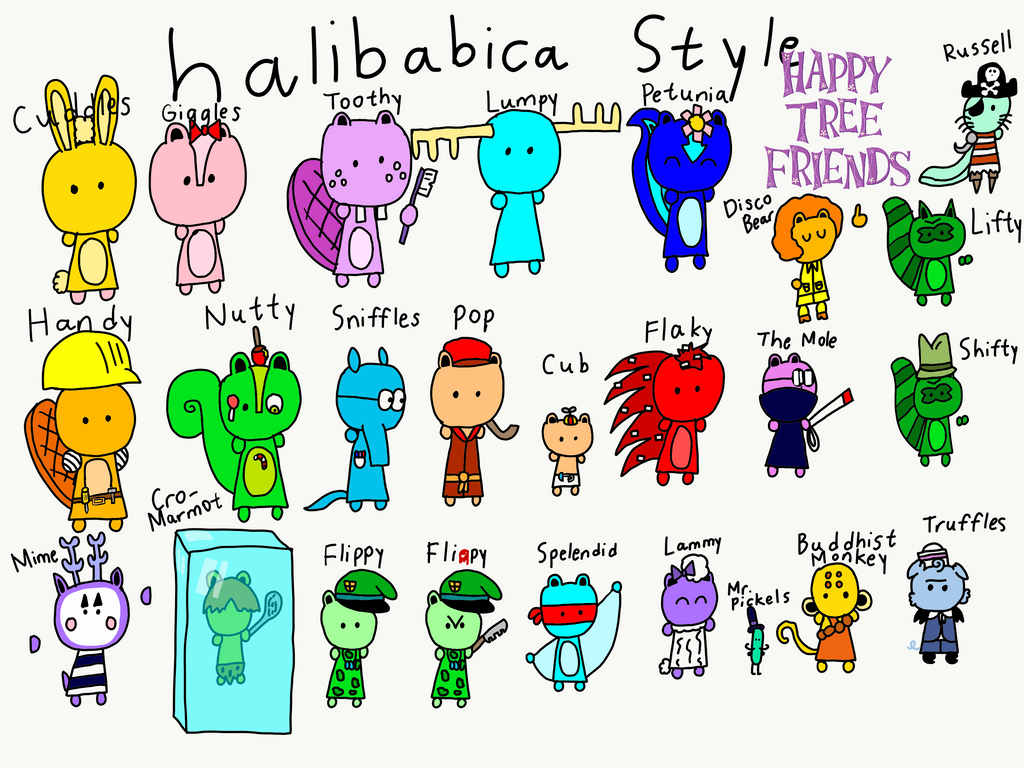 All Happy Tree Friends Characters halibabica Style by