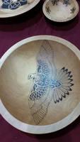Hawk Pyrography Beech Bowl