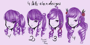 4 Drills-chan designs
