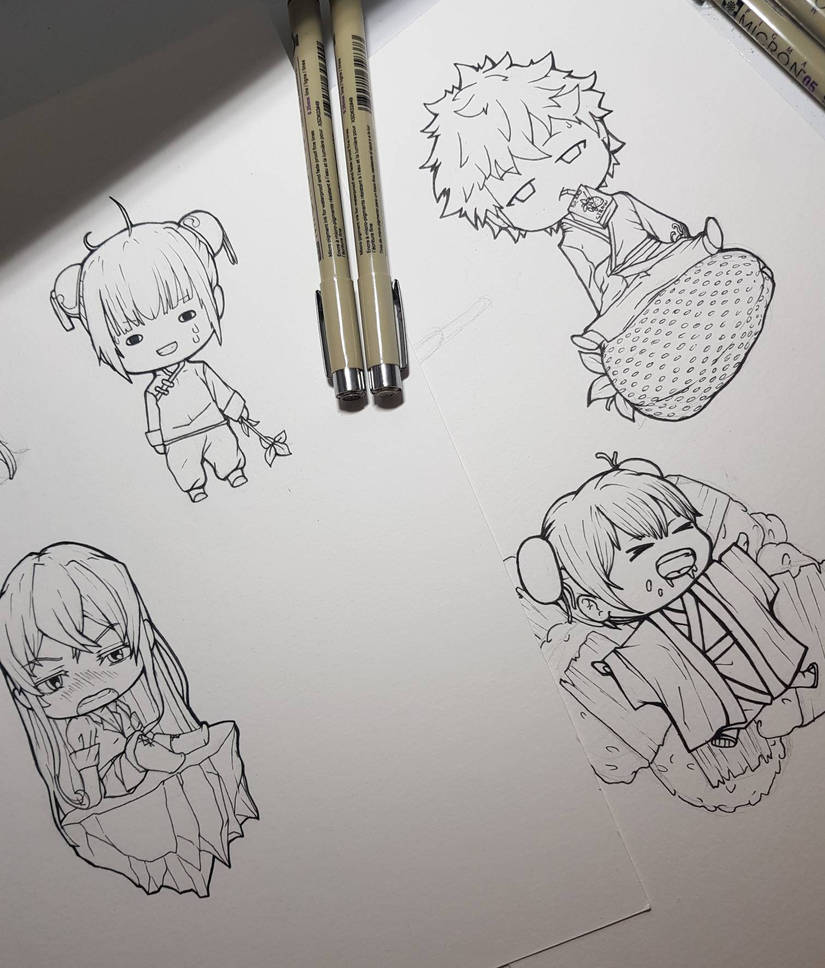 Anime sketches by bunnychwan