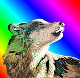 Rainbow Wolf Paint