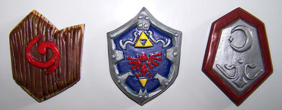 Ocarina of Time Shields Fridge Magnets by gummiberri