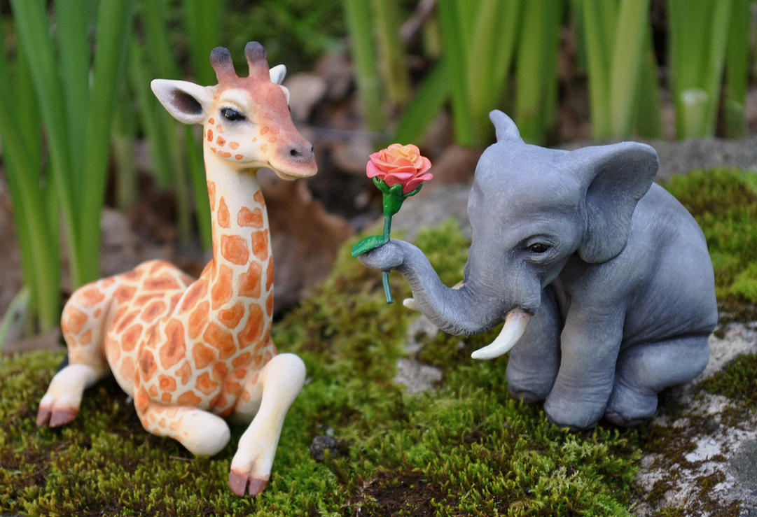 Elephant and Giraffe Wedding Cake Topper by ApostacyArt