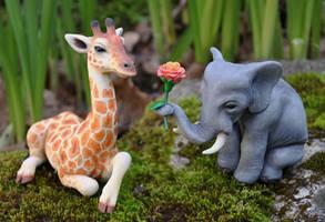 Elephant and Giraffe Wedding Cake Topper by ApostacyArt