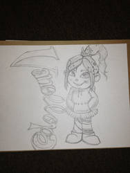Sketch of Vanellope from wreck it ralph