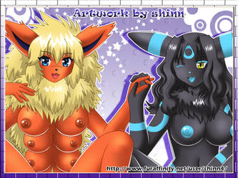 Pokemorphs Flareon and Umbreon by shinn3