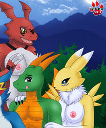 Digimon girls x Dragon by shinn3