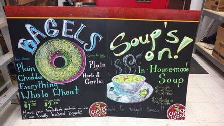 Coffee Lodge signs, bagels and soup