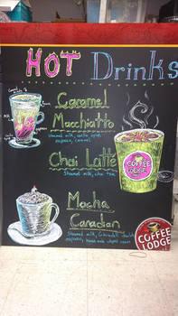 Coffee Lodge signs, hot drinks