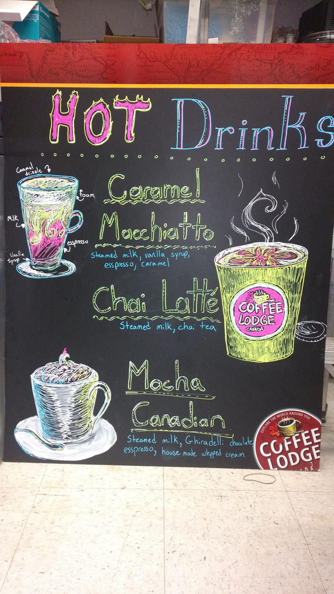 Coffee Lodge signs, hot drinks by T-Ingles