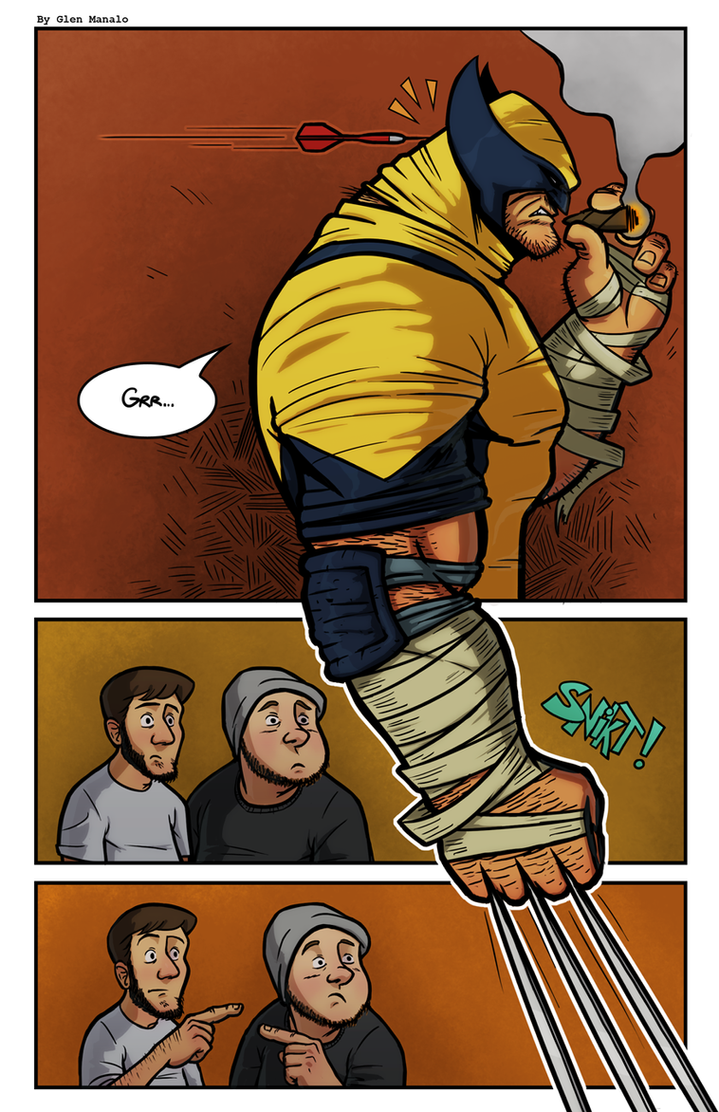 Playing Darts with Wolverine by hermit-homeboy