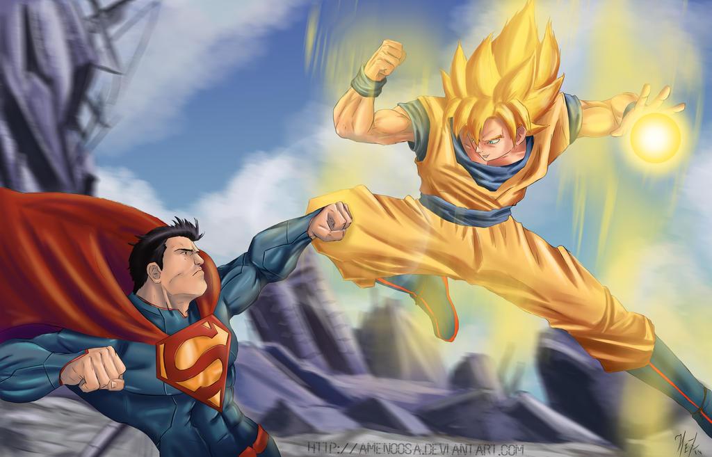 Son Goku Vs Superman by Amenoosa