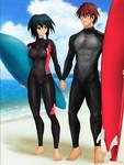 Commission: Gene x Melfina - Surf together by Amenoosa