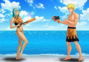 Commission: Naruto x Fuu - Water fun by Amenoosa