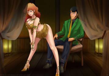 Commission Fujiko x Lupin by Amenoosa