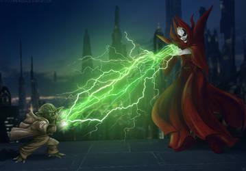 Commission: Yoda vs Talzin by Amenoosa
