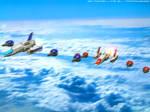 Sky of BlueThunder and RedThunder by Tarrow100