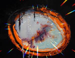 Mes enlla, la pau. Oil-canvas. Digital distortion.