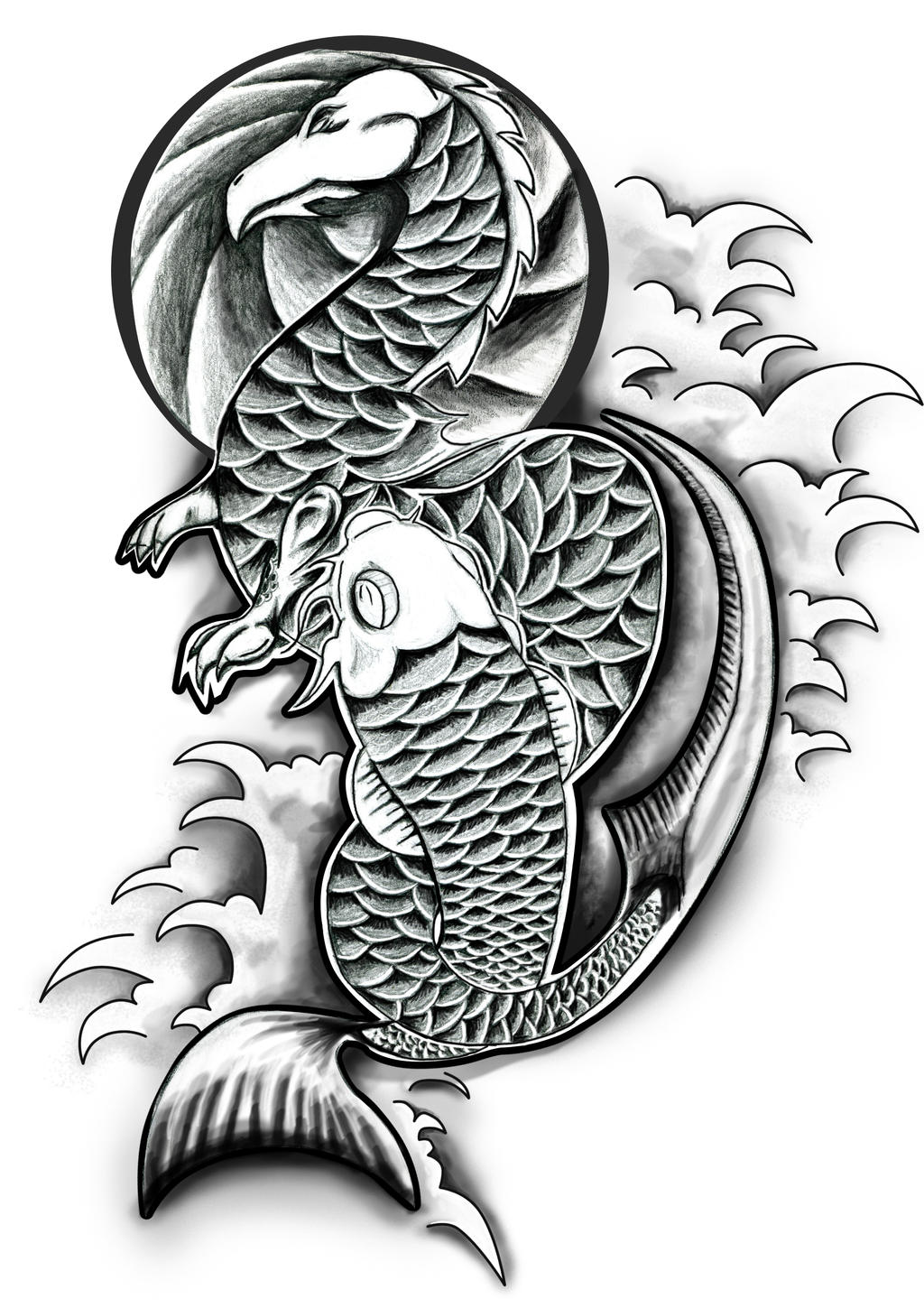 Dragon and koi by danwhitedesigns on deviantart for Black dragon koi