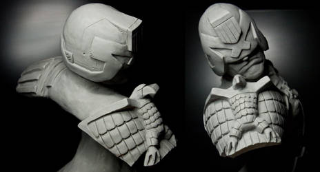 Judge Dredd sculpture bust other angles by Danwhitedesigns