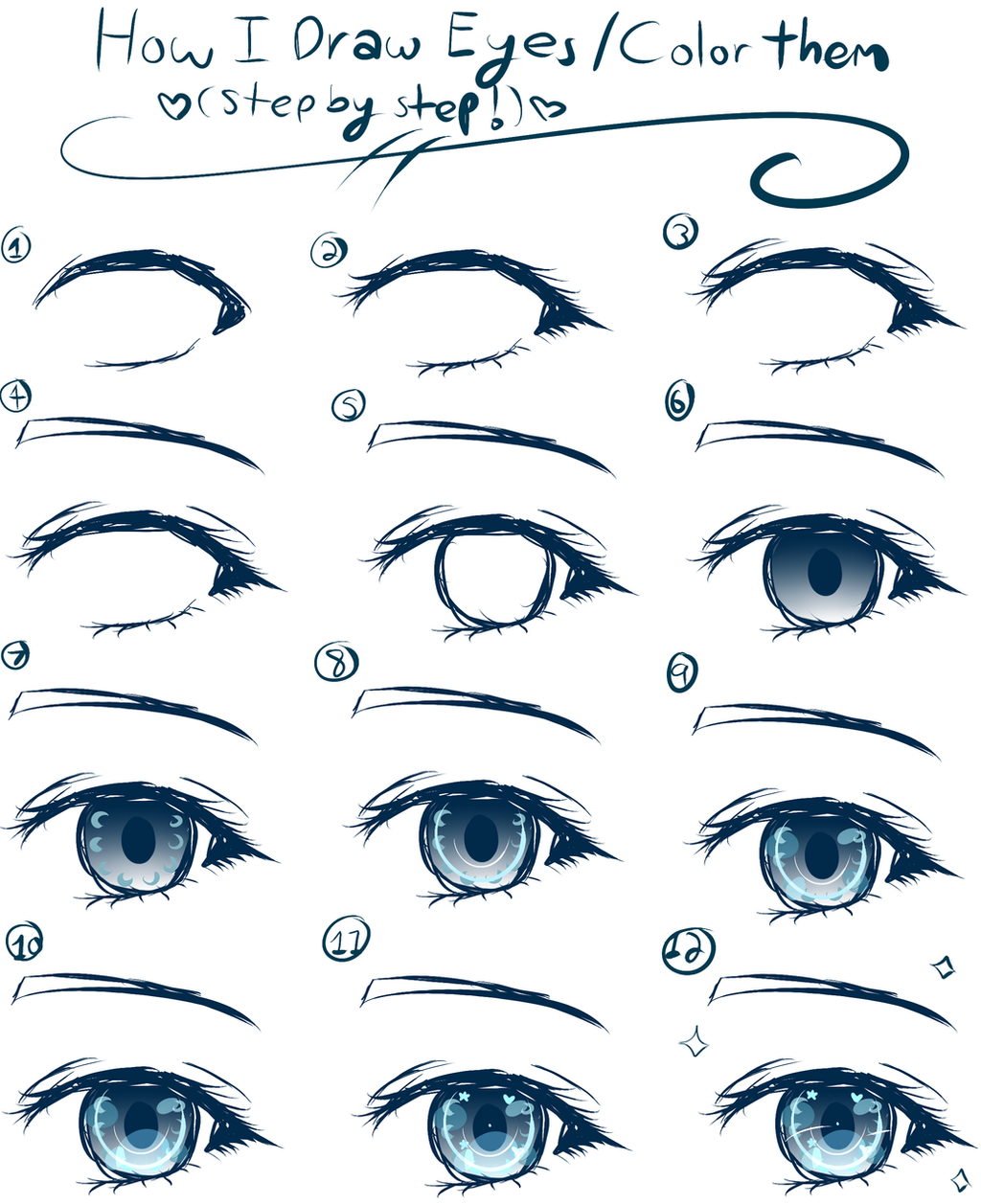 Close Up Anime Girl Eyes Drawing