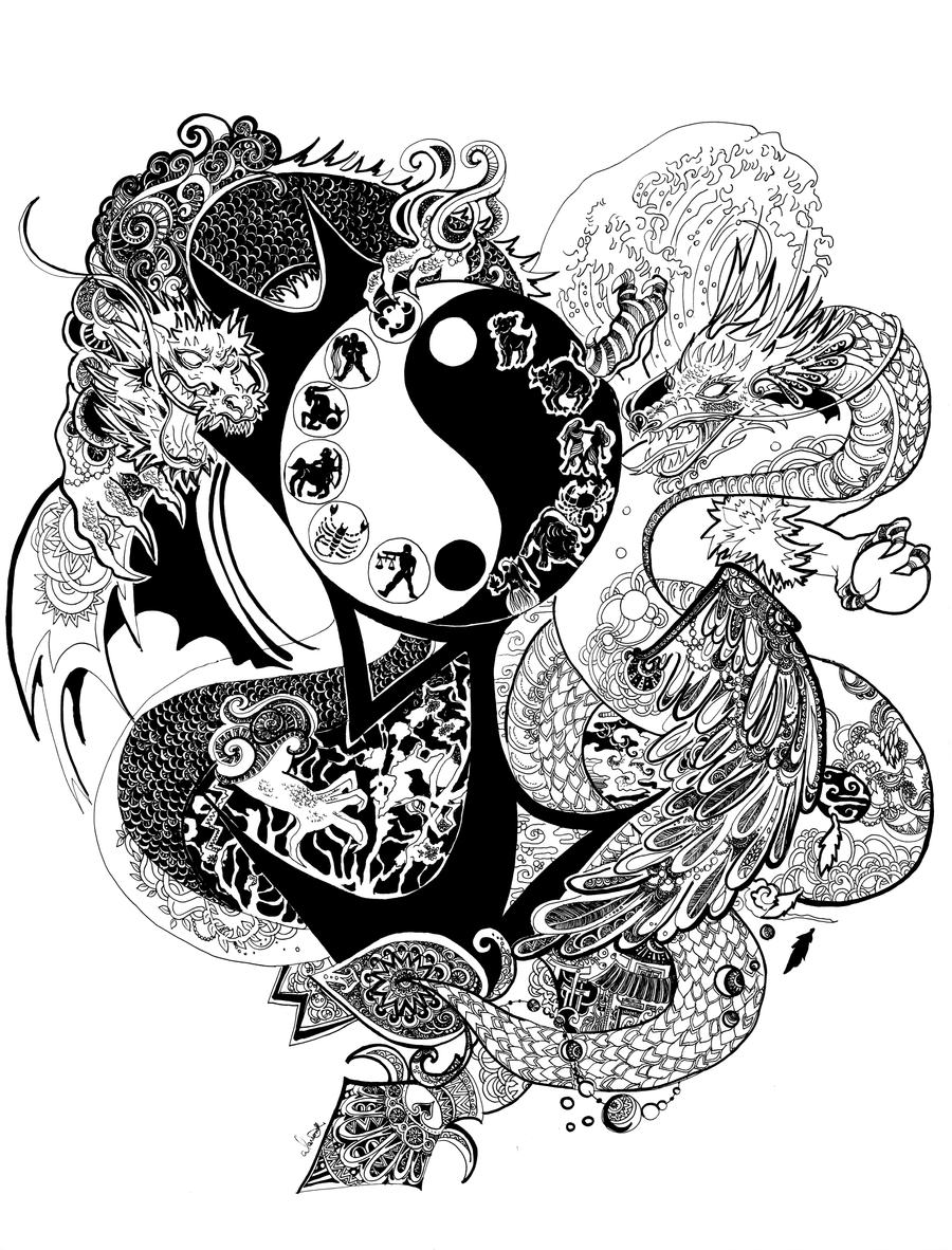 Chinese Tijger Kleurplaat Yin Yang Dragon By Blood Pleasures On Deviantart