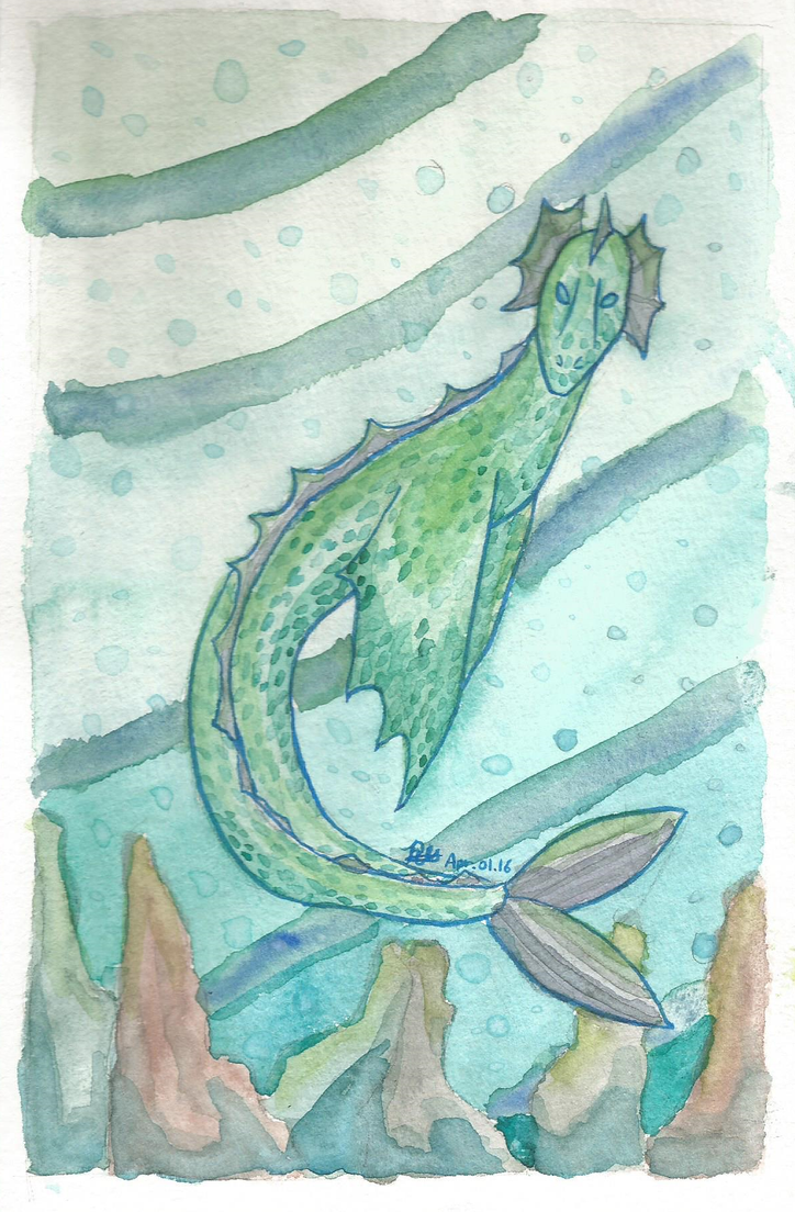 Sea Dragon in Water(color) by RynnLight