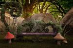 Hidden Garden Digital Backdrop / Background.