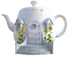 Honey Bee Teapot House 2, Png Overlay.