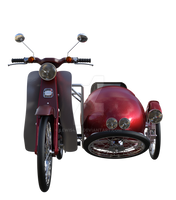 Red Motorbike and side cart, Png Overlay.