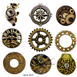 Steampunk Clock accessories Stock Photo