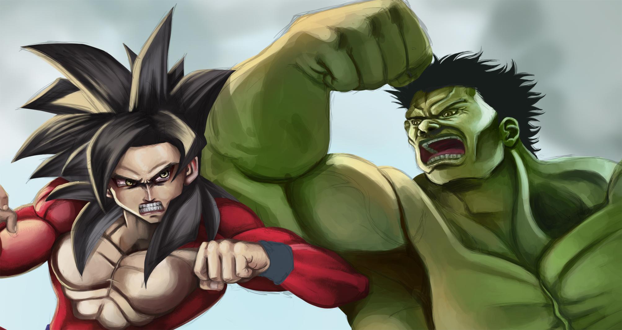 Goku vs Hulk Sketch Preview by spiritualfeel on DeviantArt