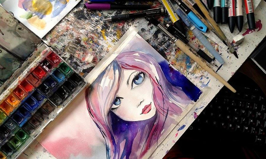pink girl by bemain