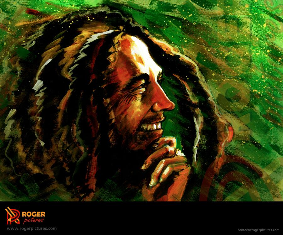 Bob marley portrait acrylic by imroger on deviantart - Cuadros de bob marley ...