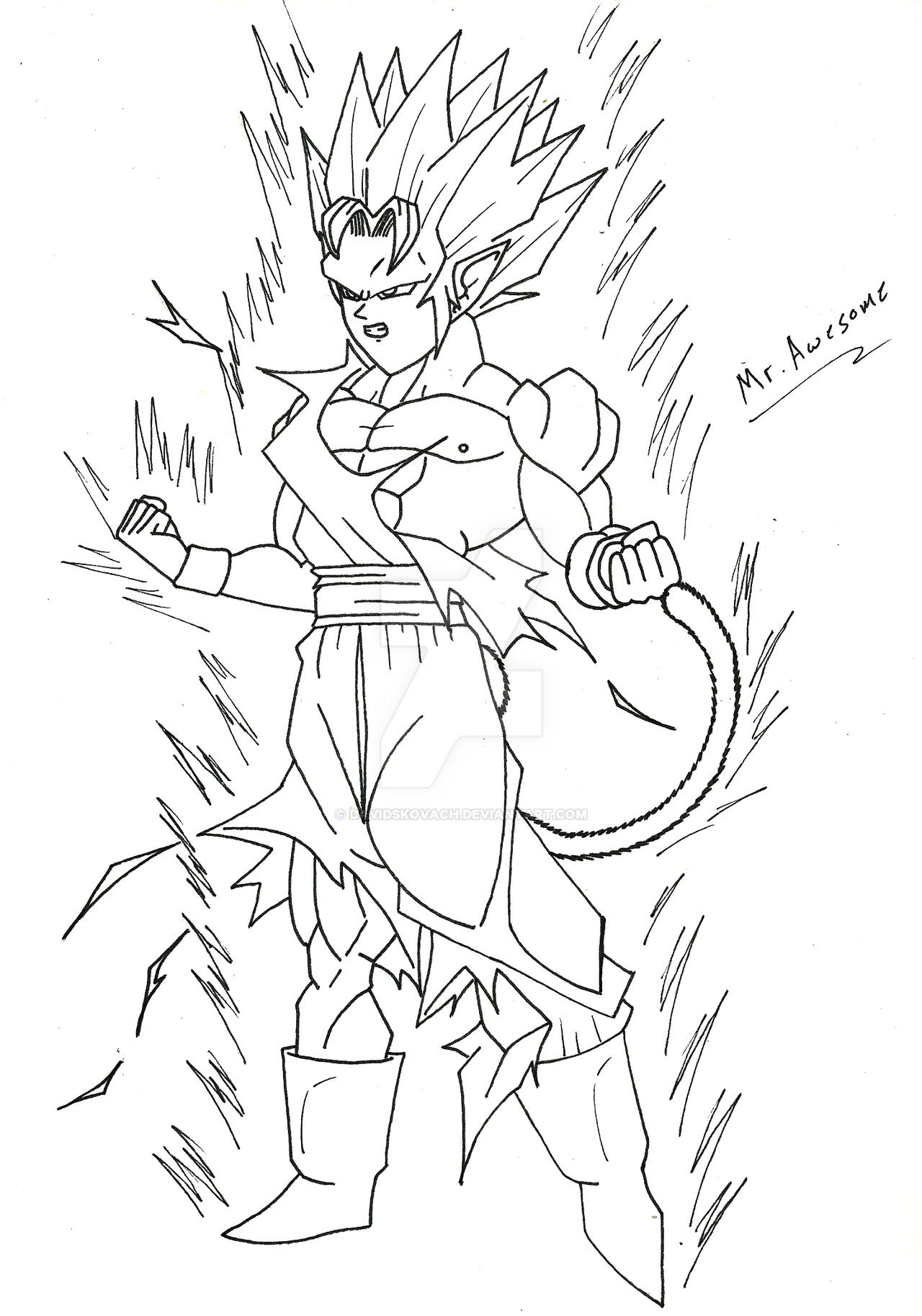 Torock True Super Saiyan Line Art by DavidsKovach