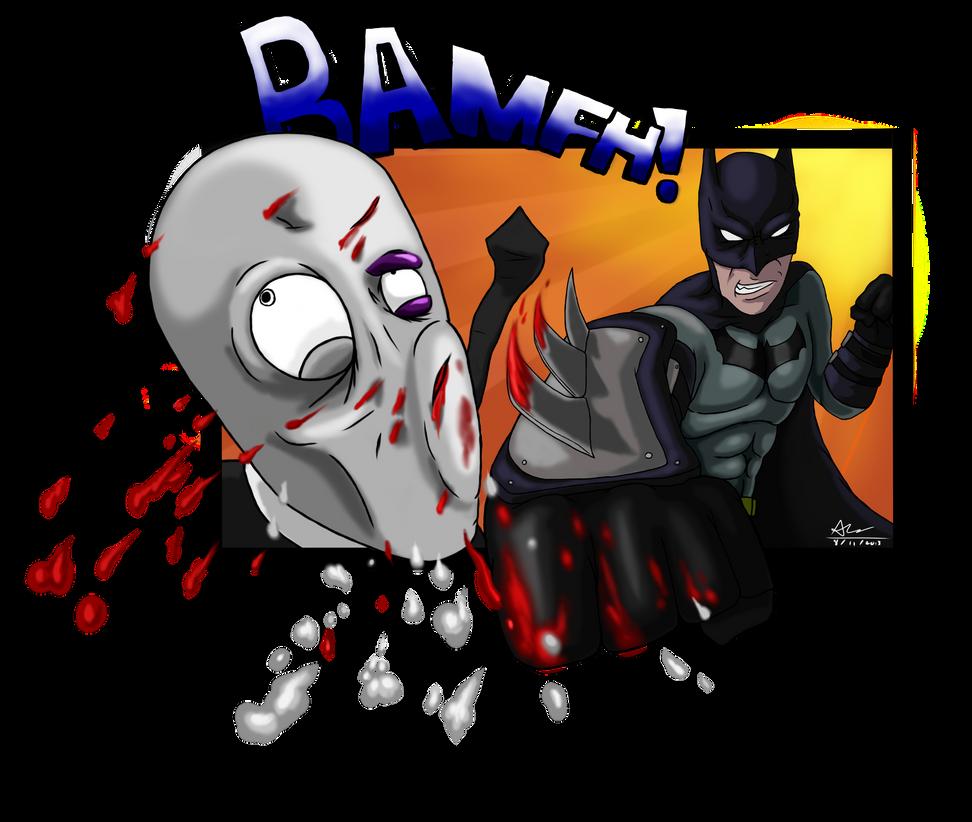 Batman punches slenderman by alextrinidad