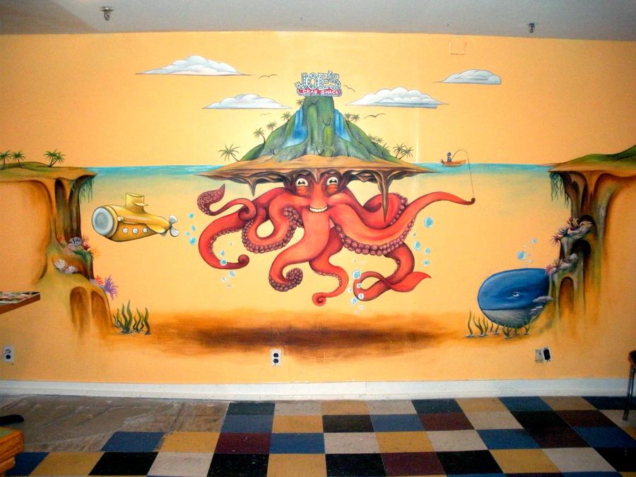 Joe 39 s crab shack mural by freaky art girl on deviantart for Mural joe painting