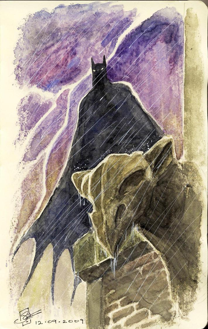 Watercolor Batman Sketch by SheldonGoh