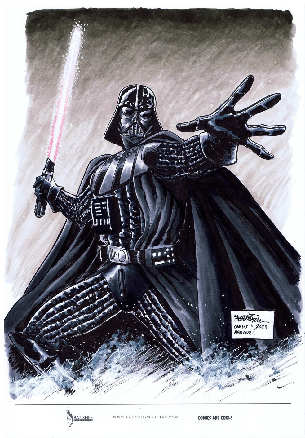 Darth Vader marker sketch for Comics Are Cool by SheldonGoh on