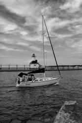 Silver Beach Boat B/W by jdblanco17