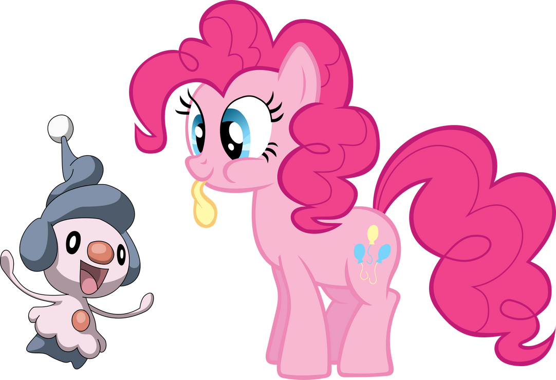 Pinkie Pie and Mime Jr. by shirorinku