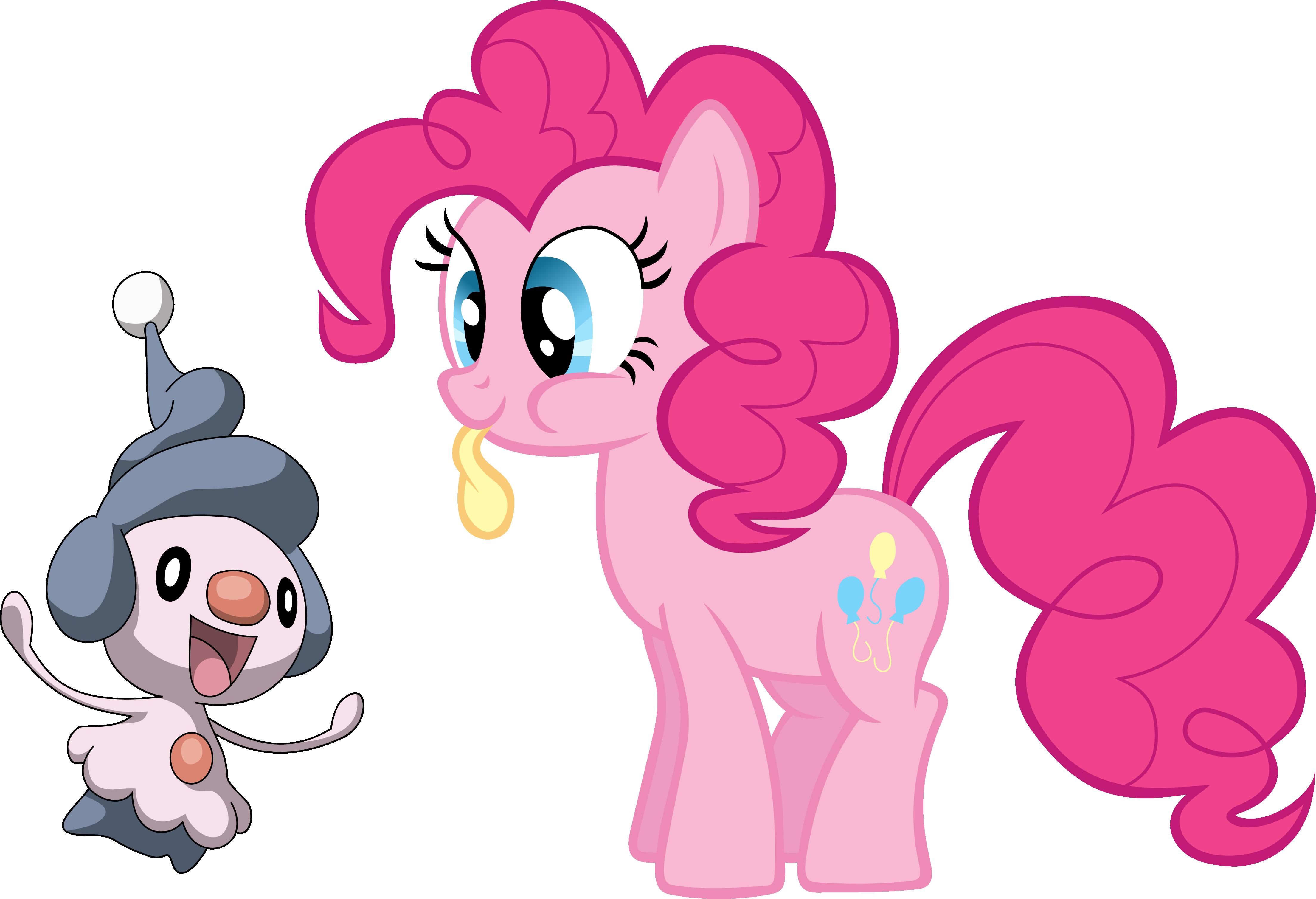 Pinkie Pie and Mime Jr. by shirorinku