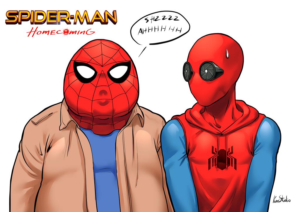 Мем с человеком пауком нарисованным