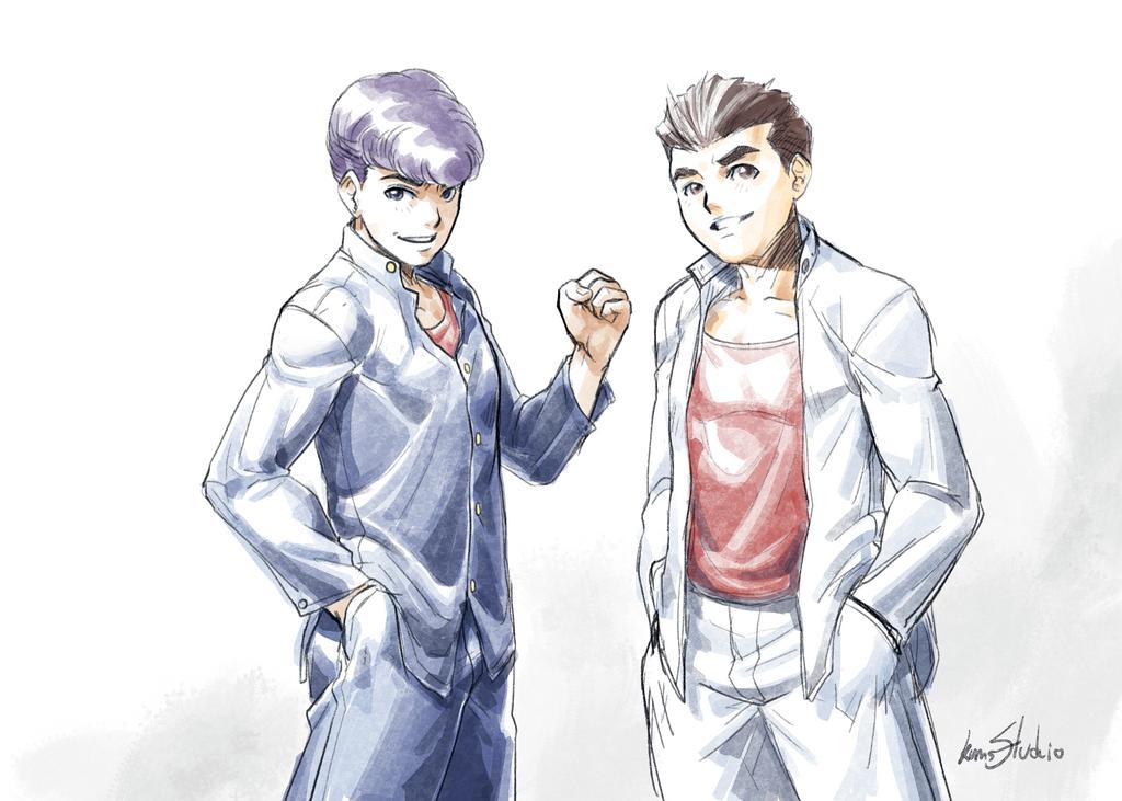 Kunio and Riki by Kumsmkii