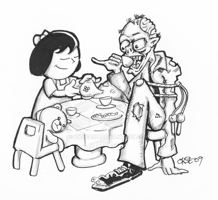 Zombie Tea Party by OkseArt