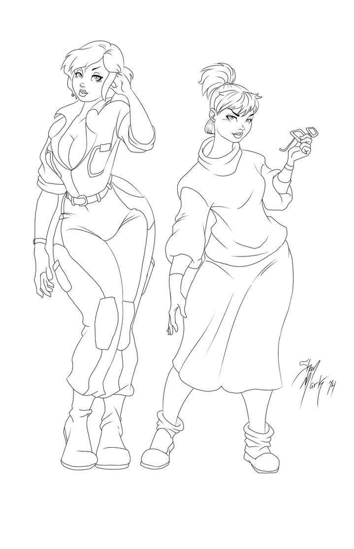 April and Irma linework by Dranos