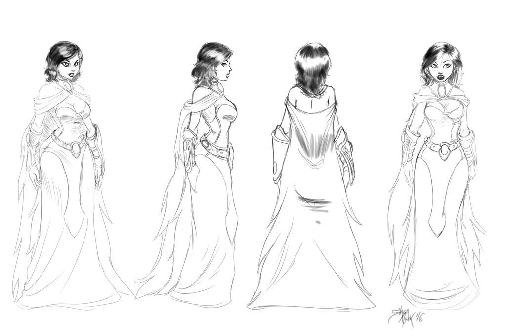 sorceress turn around sketch by Dranos