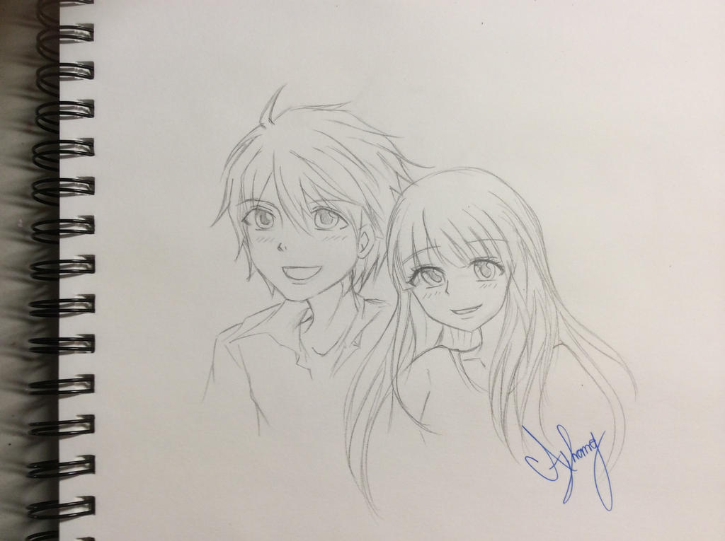 Cute anime couple sketch by damathavatar