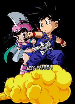 Kid Goku And Chichi Render